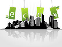 City with eco tags. Royalty Free Stock Photos