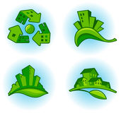 City ecology. Symbols of preservation of the environment of a city and the house Stock Images