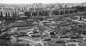City Edge. Contract of urban and suburban around city edge, in Beijing, China Royalty Free Stock Image