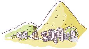 City on the edge of mountain Royalty Free Stock Photo