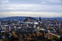 City of Edinburgh panorama with castle. And castle hill Royalty Free Stock Photo