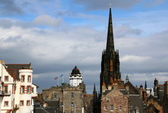 The city of Edinburgh. This a view of Edinburgh, Scotland. The clouds are in the background coming in from the North Sea Stock Photo