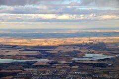 City edmonton. Bird view of city edmonton from an airplane, alberta, canada Stock Photos