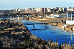 City edmonton. Early winter view of the north saskatchewan river running through the city edmonton, alberta, canada royalty free stock photo