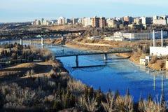 City edmonton. Early winter view of the north saskatchewan river running through the city edmonton, alberta, canada Royalty Free Stock Photo