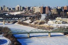 City edmonton. Early winter view of the north saskatchewan river and the city edmonton, alberta, canada Stock Photo
