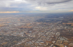 City edmonton from airplane. Bird view of city edmonton from an airplane, alberta, canada Stock Image
