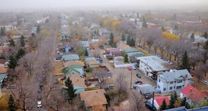 City edmonton in mist stock photography