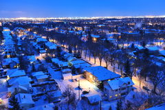 City edmonton winter night. Beautiful winter night scene of the city edmonton, alberta, canada Royalty Free Stock Image