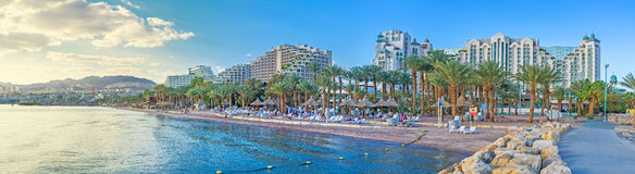 The city of Eilat. Eilat is the scenic and luxury Israeli resort, located in Aqaba Gulf of the Red Sea and bordering with Jordanian Aqaba and Egyptian Taba Royalty Free Stock Image