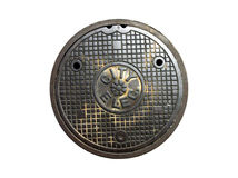 City electric manhole cover royalty free stock photography