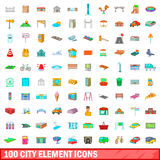 100 city element icons set, cartoon style. 100 city element icons set in cartoon style for any design vector illustration Royalty Free Stock Photography