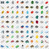 100 city element icons set, isometric 3d style Royalty Free Stock Photography