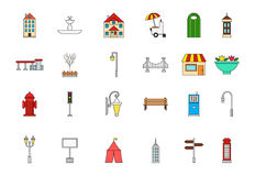 City elements colorful icons set. Set of 24 City elements colorful icons Stock Image