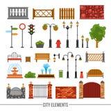 City Elements Flat Icons Set Royalty Free Stock Photography