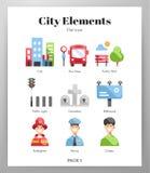 City elements flat pack royalty free illustration