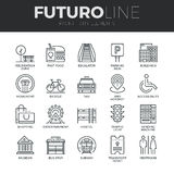 City Elements Futuro Line Icons Set vector illustration