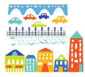 City elements - houses, cars, bridge - cartoon Stock Photos