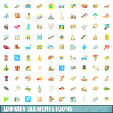100 city elements icons set, cartoon style. 100 city elements icons set in cartoon style for any design vector illustration Stock Image
