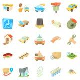 City elements icons set, cartoon style Stock Photos
