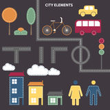 City elements. Vector background with different city elements Royalty Free Stock Image