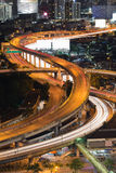 City elevated road intersection during busy hour Royalty Free Stock Photography