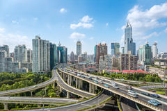 City elevated road junction in daytime Stock Images