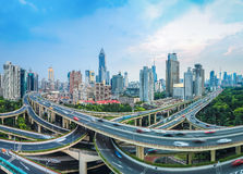 City elevated road junction at dusk. Panoramic view of city elevated road junction at dusk in shanghai Stock Image