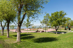 city embankment with benches. Royalty Free Stock Photos
