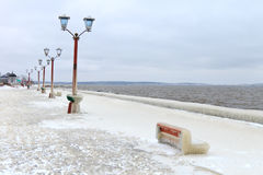 City embankment covered with ice after a winter storm Royalty Free Stock Photography