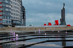 City embankment with famous sculpture in Ostend, Belgium Royalty Free Stock Photography