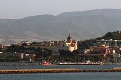City embankment and temple. Cagliari, Sardinia Royalty Free Stock Images