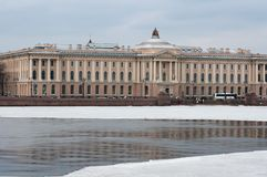 City embankment in winter morning royalty free stock photography