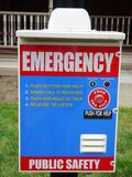 City: emergency assistance panel. Emergency assistance panel in inner city area Stock Photo