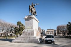 City employee who cleans the statue of Louis XIV in Montpellier, France stock photos