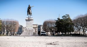 City employee who cleans the statue of Louis XIV in Montpellier, France stock photography
