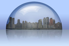 City Enclosed. In glass sphere royalty free illustration