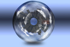 City Enclosed in glass sphere Stock Photo