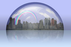 City Enclosed in glass sphere Royalty Free Stock Image