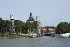 City of Enkhuizen, The Netherlands. The city of Enkhuizen, The Netherlands, seen from the water on a beautiful summer morning Stock Photos