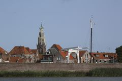 City of Enkhuizen, The Netherlands. The city of Enkhuizen, The Netherlands, seen from the water on a beautiful summer morning Royalty Free Stock Images