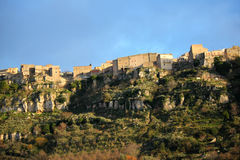 City of Enna. View of the city of Enna in Sicily on mountain top Stock Photos