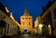 City Entrance of Elburg. City Entrance 'Vischpoort' of Elburg by night royalty free stock image