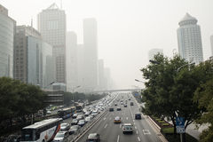 The city enveloped in haze Stock Photo