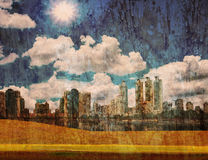City with environment. City of art.grunge with city Royalty Free Stock Photography