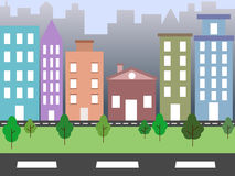 City environment. Illustration of city environment with tall buildings and green bed Stock Photos