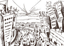 City escape doodle, traffic concept illustration Stock Photos