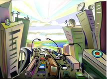 City escape, traffic concept illustration Stock Image
