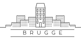 City of Europe, Brugge line icon on white background