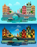 City Europe flat vector: river canal, bridge, historic buildings Royalty Free Stock Photo